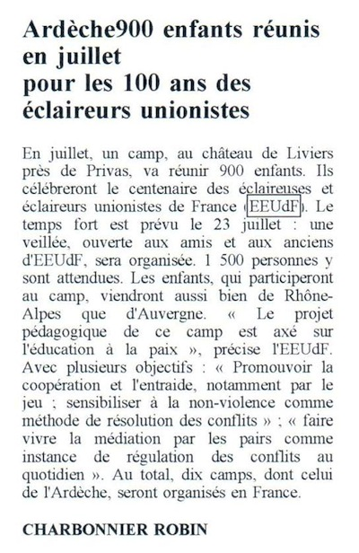 article journal centenaire 2
